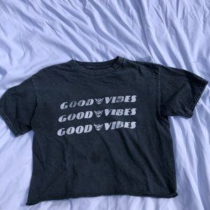 Black Distressed Good Vibes Cropped T-Shirt